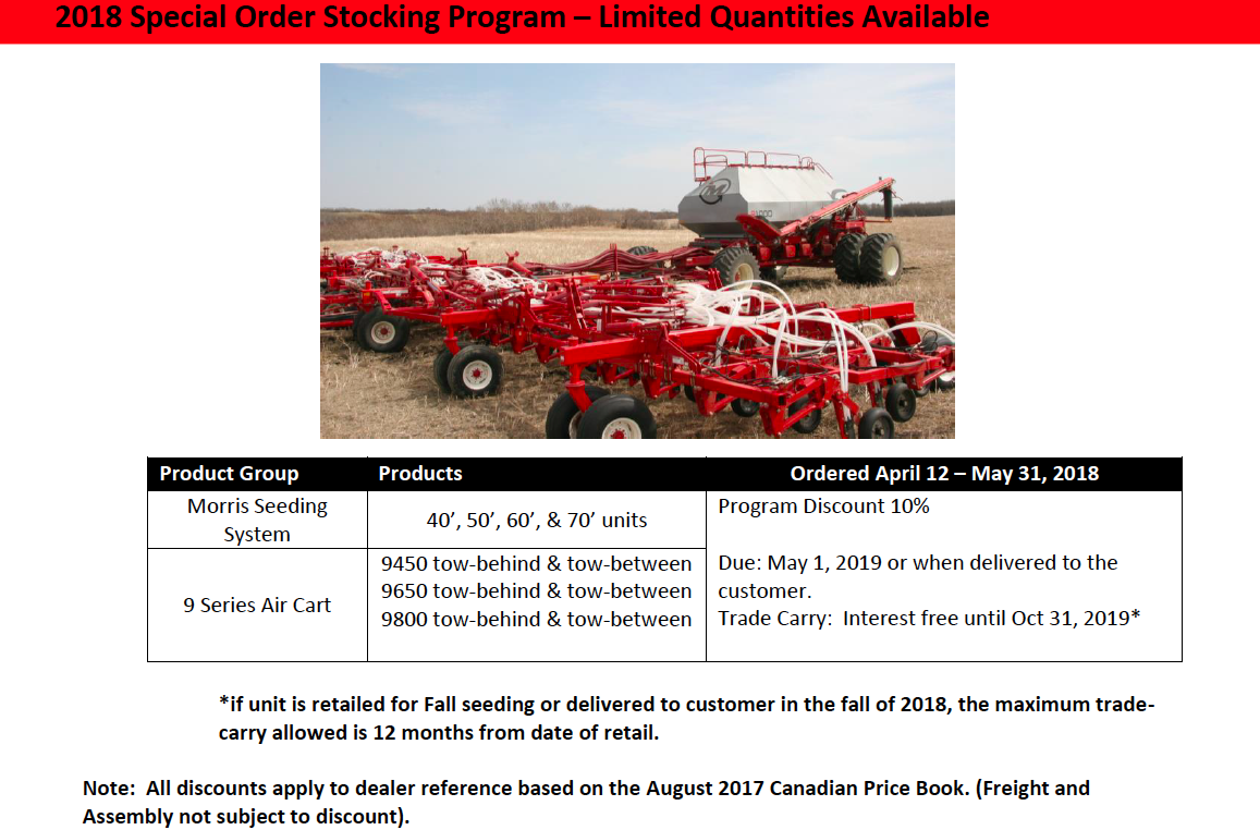Morris Early Order Program page 1