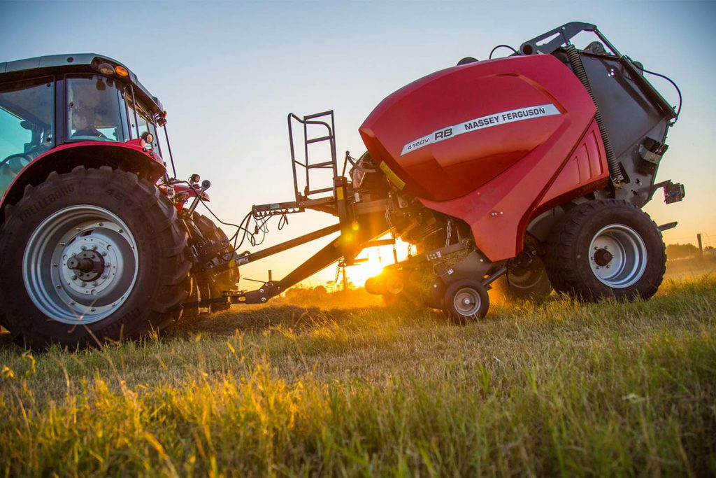 New Massey Ferguson 4100V RB Series Round Baler for sale at Hanlon Ag Centre in Lethbridge, Alberta, Canada. This baler is ideal for cow/calf operations and small to mid-size dairy farms. Massey Ferguson balers are sold and serviced at Hanlon Ag Centre.