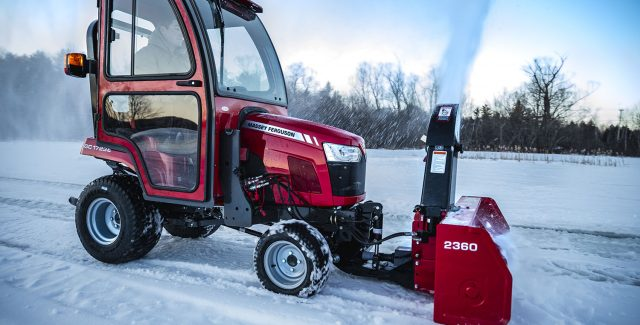 Massey Ferguson GC1700 Series compatible snowblower attachment, MF 2360 front mounted snowblower