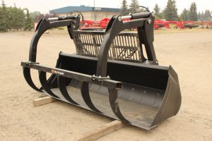 "102"" ALO Grapple Bucket for sale in Lethbridge, Alberta. We have grapple buckets for sale. View our selection of loader attachments at Hanlon Ag Centre."