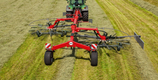 New Fella TS1603 dual rotary rakes for sale at Hanlon Ag Centre in Lethbridge, Alberta, Canada.