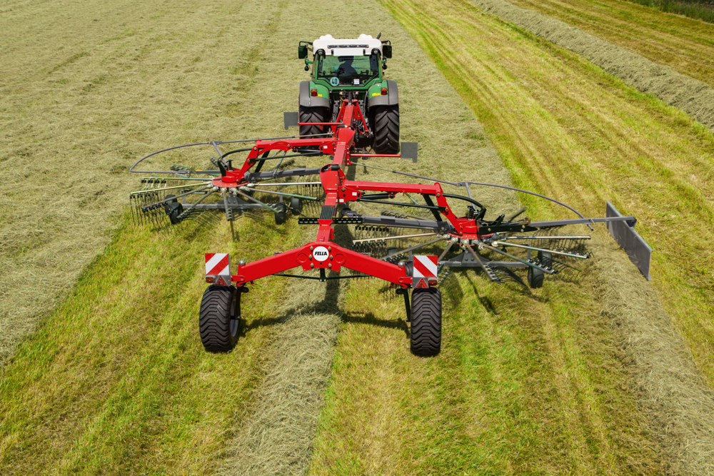 New and used Fella hay rakes available for sale at Hanlon Ag Centre in Lethbridge, Alberta, Canada. The Fella TS1603 dual rotary rake is designed to rake Timothy hay and leafy foliage. We sell and service Fella hay rakes at Hanlon Ag Centre.