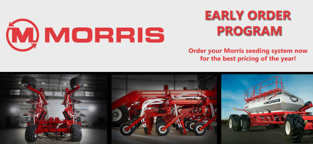 Morris early order program- order your seeding equipment early and save at Hanlon Ag Centre in Lethbridge, Alberta Canada. New tillage equipment for sale view our selection of seeding tools.