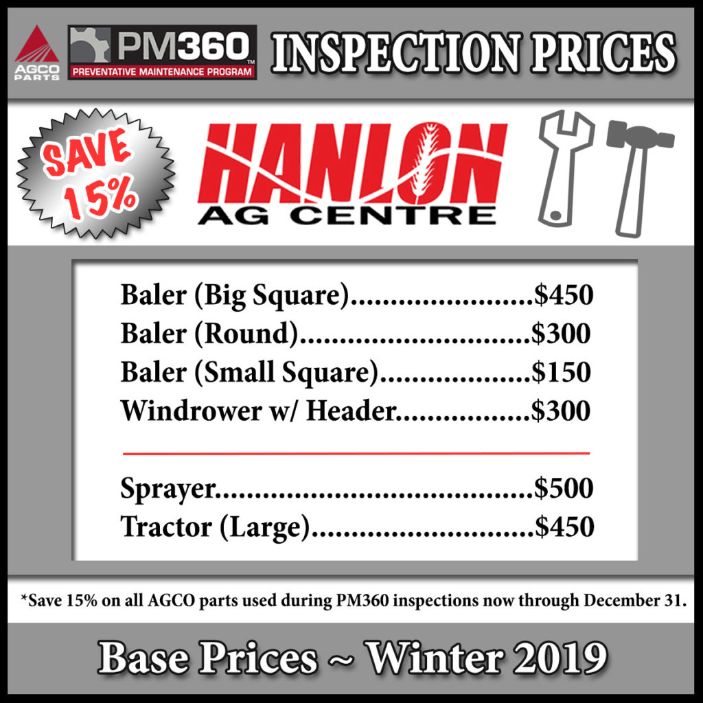 Winter service inspection prices for farm equipment in southern Alberta. Schedule winter service before end of year and save. Sale on winter service inspections for hay equipment (balers, windrowers and headers), tractors and sprayers.