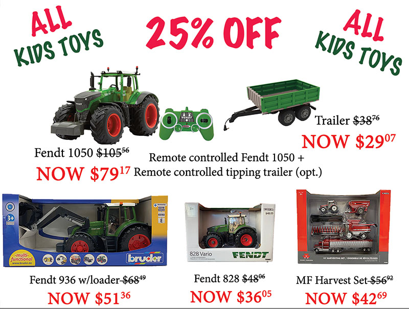 Kids farm toys sale at Hanlon Ag Centre in Lethbridge, Alberta. Save 25 percent off all of our kids toys during our christmas farm toy sale. Remote control tractors, play tractors, play harvest sets, toy balers, toy tractor. Fendt, Massey Ferguson, Hesston and more.