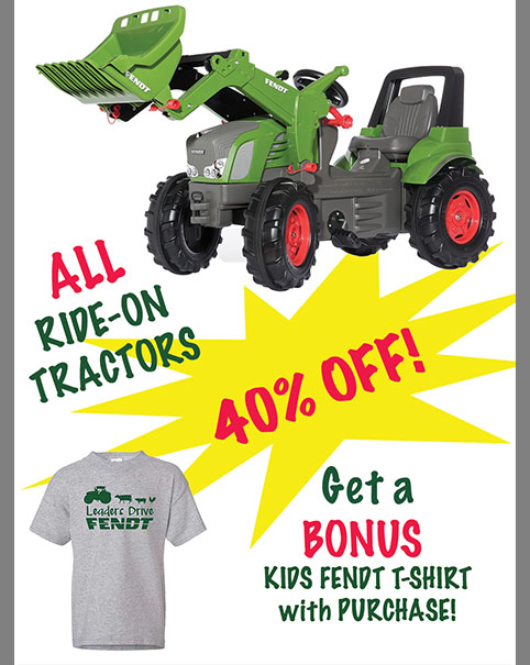 Kids ride on tractors on sale now at Hanlon Ag Centre take an additional 40 percent off original price. Choose from Fendt and Massey Ferguson brands. Get a bonus free kids fendt t-shirt with purchase. Sale on until December 31st.