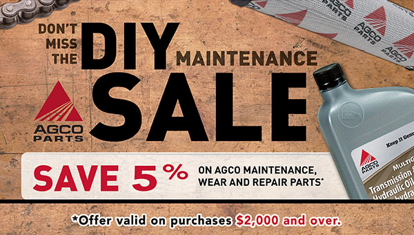 Do it yourself maintenance sale. DIY maintenance sale is happening now at Hanlon Ag Centre in Lethbridge, Alberta. Save 5% on AGCO brand maintenance parts with a purchase of $2,000 or more. This sale includes lubricants, filters and any other wear and repair parts needed for farm equipment. Must be parts that are in-stock. Contact our parts department today for details.