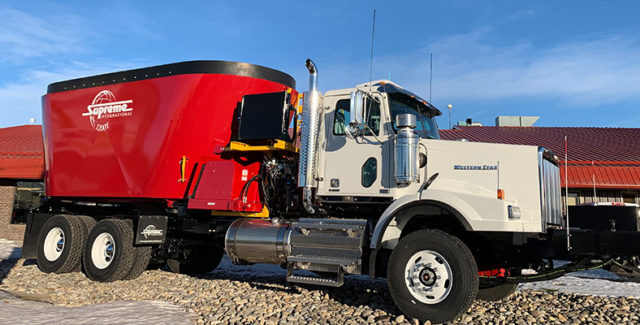 New Supreme 1200T truck mount feed processor with hydrostatic drive for sale at Hanlon Ag Centre in Lethbridge, Alberta
