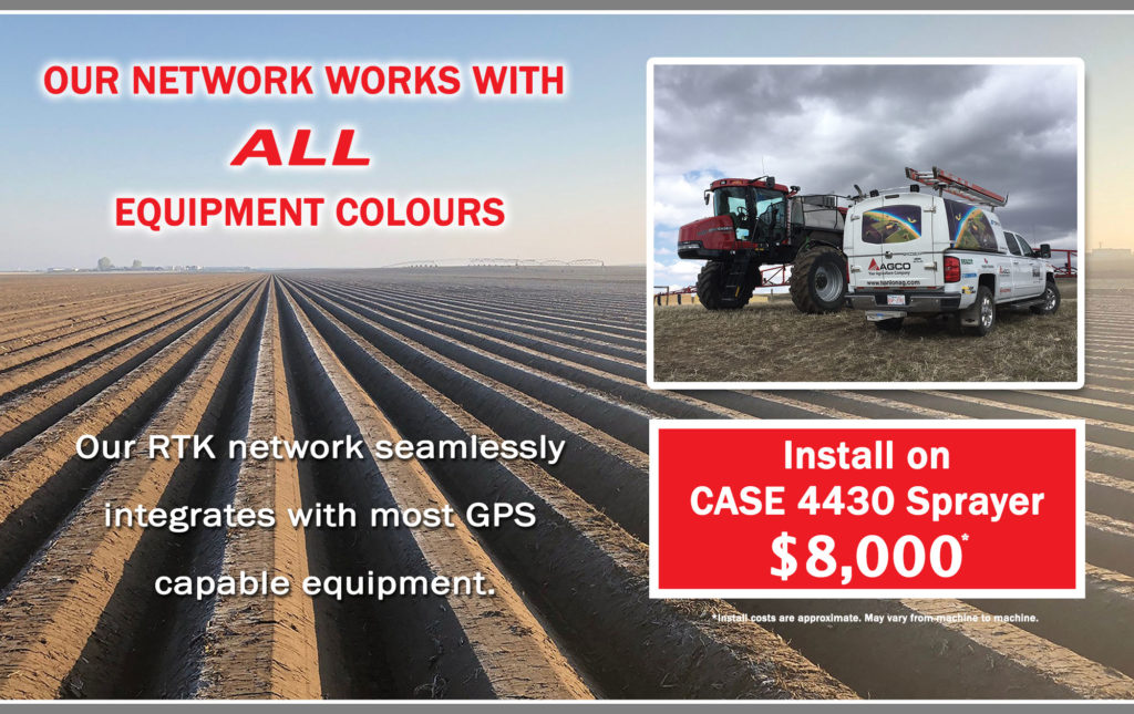 Best cellular RTK network in southern Alberta with wide coverage area, no cellular data fees, no base stations on your property. Serviced and maintained internally by Hanlon Ag Centre. Our network work with most GPS capable equipment. Case, John Deere, New Holland, AGCO and more!