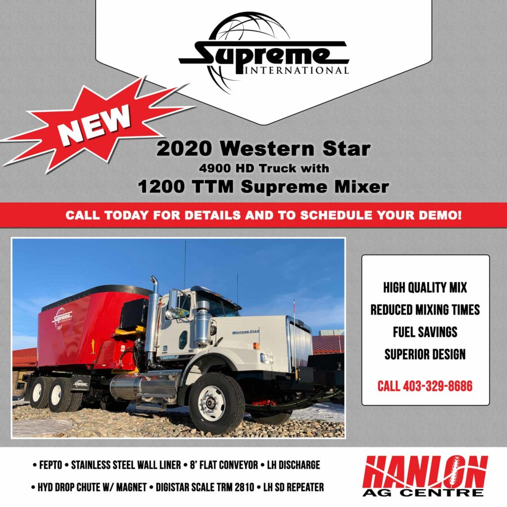 New 2020 Western Star 4900 Heavy Duty Truck with Supreme 1200 Twin Auger Truck Mount for sale at Hanlon Ag Centre in Lethbridge, Alberta. Call for details and to schedule your demo.